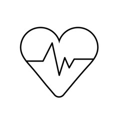 Medical heart cardiology pulse line icon vector