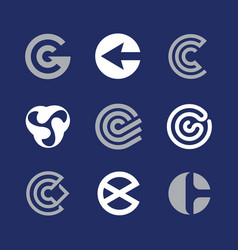 modern professional set logos c technology in blue vector image