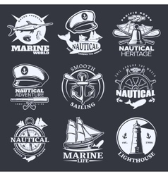 Nautical Emblem Set On Black vector image