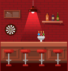 night life empty bar with table and stools pub vector image