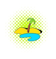 Oasis in desert icon comics style vector