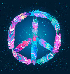 Peace sign made colored bird feathers hippie vector