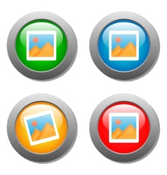 Photo icon on set of glass buttons vector image