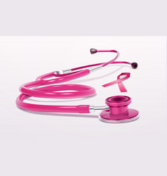 pink ribbon stethoscope icon breast cancer vector image
