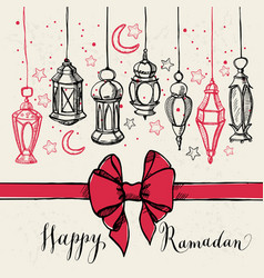 Ramadan kareem with lantern and bow vector