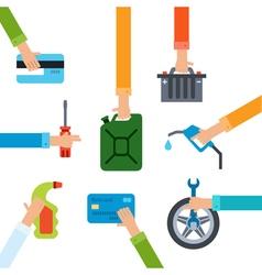 Refueling and repairing hands vector