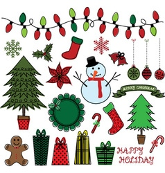 Retro Christmas Doodles set vector image