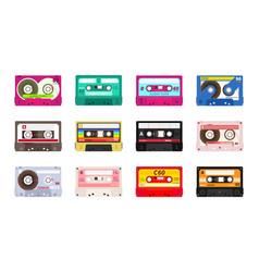 retro music cassettes realistic old school sound vector image