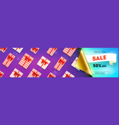 sale fifty percent discount opened bended corner vector image