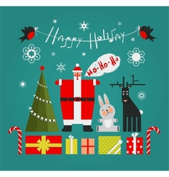 Santa with Gifts Presents Deer and New Year Tree vector image