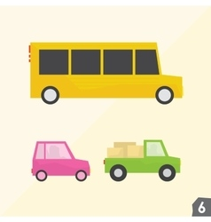 School bus pink car and pickup truck vector image