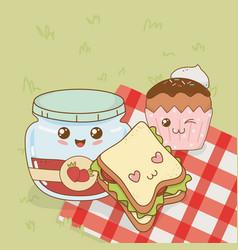 set of camping food kawaii characters vector image