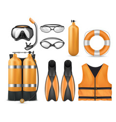 set of diving equipment scuba gear vector image