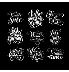 set of winter black and white handwritten vector image