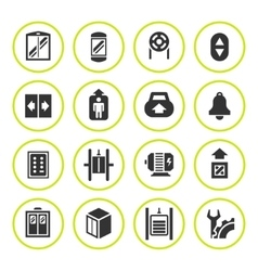 Set round icons of elevator and lift vector