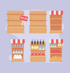 Shelves full products and sold out food excess vector