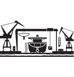 shipbuilding industry background vector image