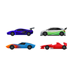 Side viewed colorful sport cars set vector