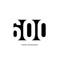 six hundred anniversary minimalistic logo sex vector image