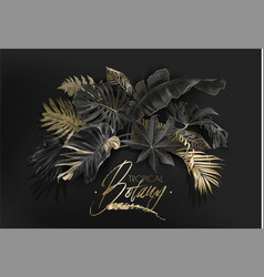 Tropical leaves black and gold botany banner vector