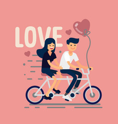 Two lovers riding tandem bike vector