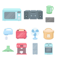 types of household appliances cartoon icons in set vector image
