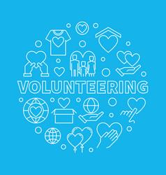 Volunteering circular on blue vector