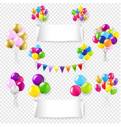 white paper banners set with color balloon set vector image