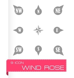 Wild rose icon set vector