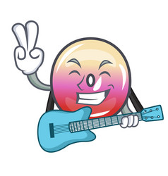 With guitar jelly ring candy mascot cartoon vector