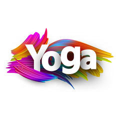 Yoga paper poster with colorful brush strokes vector