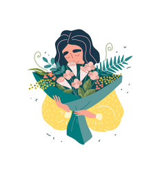 young beautiful woman holding a bouquet flowers vector image