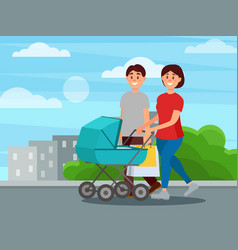 young happy family walking by park after shopping vector image vector image