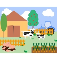 cows and pigs at the farm vector image
