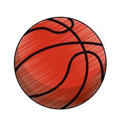 drawing basketball ball equipment vector image vector image