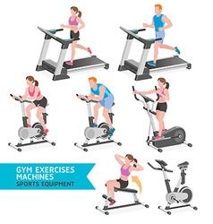 Gym exercises machines sports equipment vector image