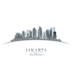 jakarta indonesia city skyline silhouette white vector image vector image