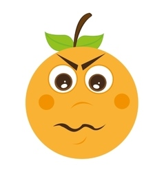 orange fruit character cute icon vector image