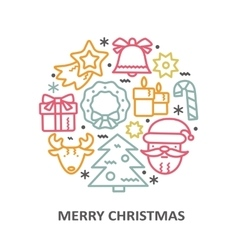 Christmas greeting card with line icons elements vector