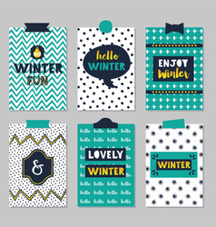 cute assorted winter quotes journal cards set on vector image