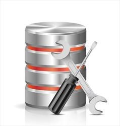 Database with tools vector image vector image