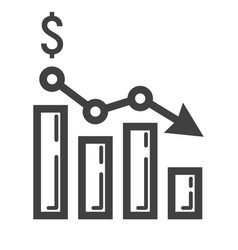 Declining graph line icon business and finance vector