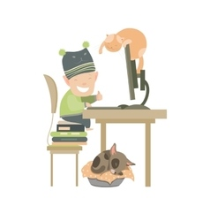 Little boy sitting at computer vector image