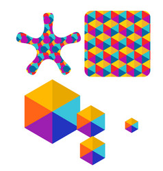 set of abstract color box logo vector image vector image