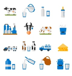 Dairy icons set - flat style vector image vector image