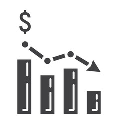 Declining graph glyph icon business and finance vector