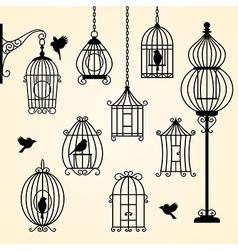 Set of vintage bird cages vector image