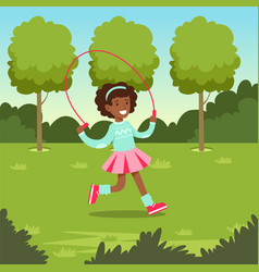 cute smiling african girl jumping with skipping vector image