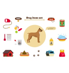 Dog items set care object and stuff Elements vector image vector image