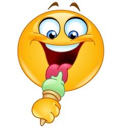 emoticon with ice cream vector image vector image